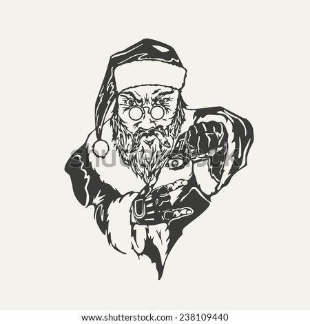 illustration of crime Santa Claus. Black and white style