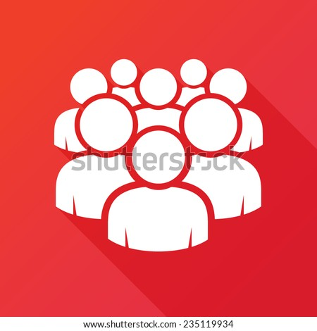 Illustration of crowd of people - icon silhouettes vector. Social icon. Modern design flat style icon with long shadow effect - stock vector