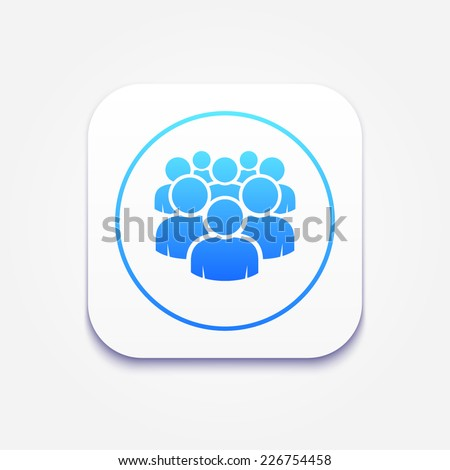Illustration of crowd of people - icon silhouettes vector. Social icons - stock vector