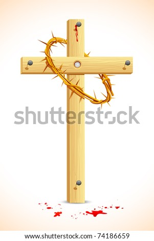 illustration of crown of thorns on wooden cross - stock vector