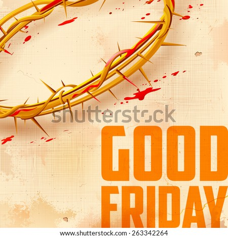 illustration of Crown of thorns with dripping blood on Good Friday - stock vector