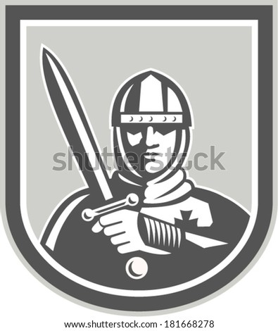Illustration of crusader knight in full armor brandishing a sword set inside shield crest facing front on isolated background done in retro style. - stock vector