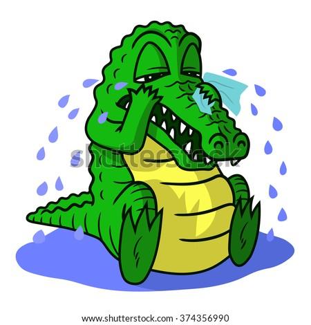 Illustration of crying crocodile - stock vector