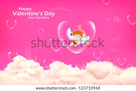 illustration of cupid floating in heart bubble in sky - stock vector