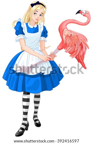 Illustration of cute Alice Plays Croquet