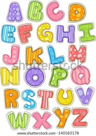 Illustration of Cute and Colorful Alphabet in Uppercase