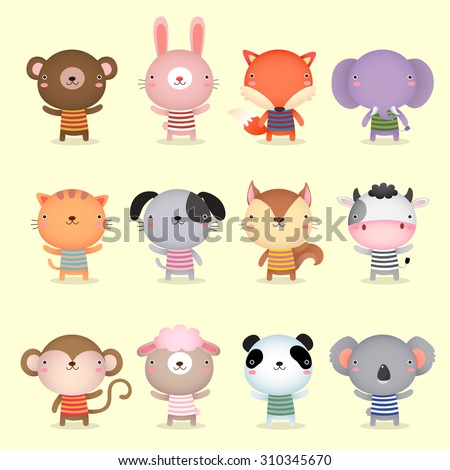 Illustration of cute animals collections - stock vector