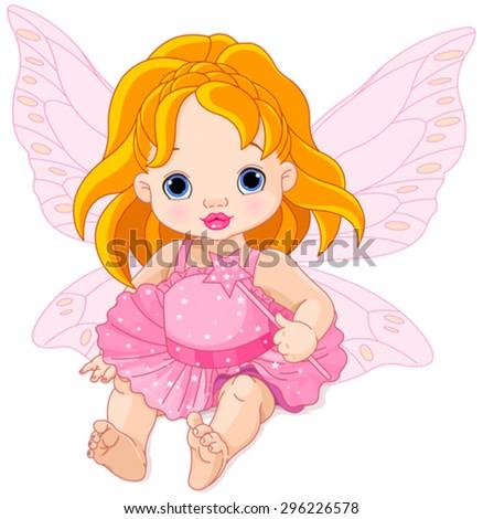 Illustration of cute baby fairy  - stock vector