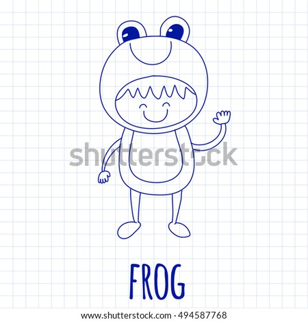 Illustration of cute baby wearing frog costume