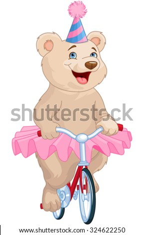 Illustration of cute bear on bicycle - stock vector
