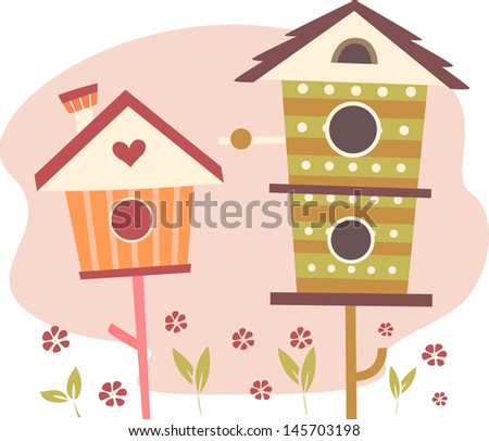 Illustration of Cute Bird Houses - stock vector