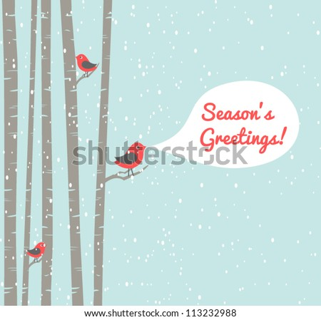 Illustration of cute birds celebrating Christmas. - stock vector