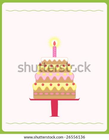 Illustration of cute birthday cake - stock vector