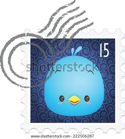 Illustration of cute blue bird on the stamp / postage