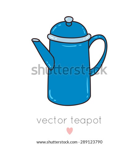 illustration of cute blue tea pot with coffee or tea on white background. can be used for greeting card or party invitations