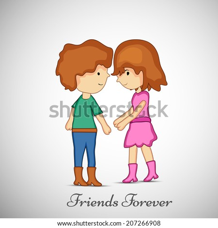 Illustration of cute boy and girl for Friendship day