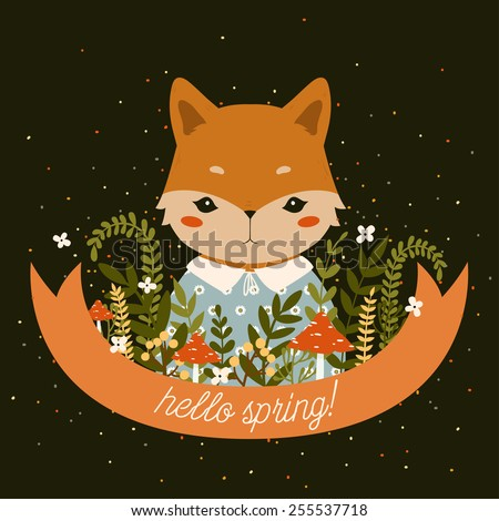 illustration of cute cartoon baby fox with ribbon, leaves, berries, mushrooms and flowers with hello spring text message on dark background. can be used for greeting cards or birthday invitations - stock vector