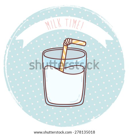illustration of cute cartoon bottle with milk and straw on pastel blue polka dots background. can be used for greeting cards or party invitations, t-shirts design, branding etc - stock vector