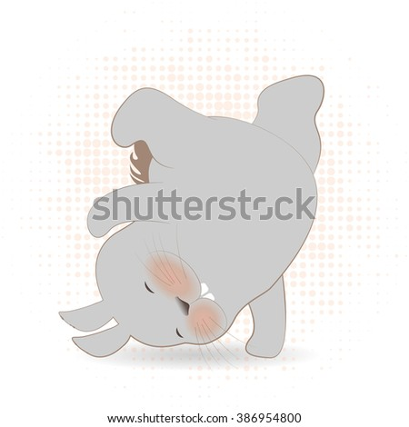 Illustration of cute cartoon bunnies dancing. Vector flat illustration rabbit dancing for print, fashion animal illustration, cute hipster bunny boy and  girl, character design for print   - stock vector