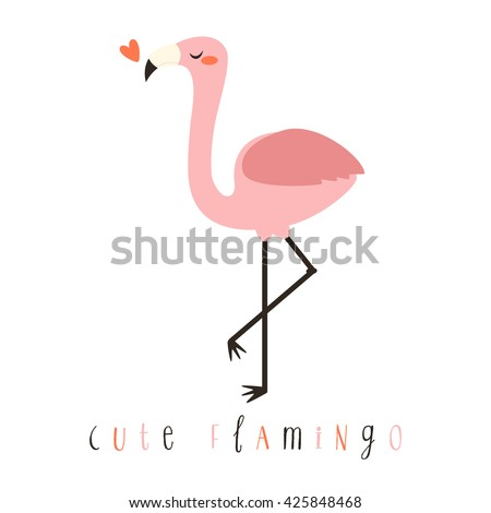 illustration of cute cartoon flamingo on white background. can be used like sticker or for birthday cards and party invitations