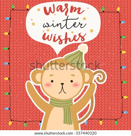 illustration of cute cartoon monkey with winter greetings on knot pastel background. can be used for winter holidays greeting cards and party invitations
