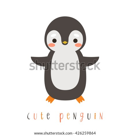illustration of cute cartoon penguin on white background. can be used like sticker or for birthday cards and party invitations - stock vector