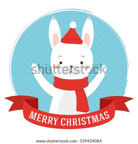 illustration of cute cartoon polar rabbit into circle frame and with merry christmas text message. can be used for winter holidays greeting cards and party invitations - stock vector