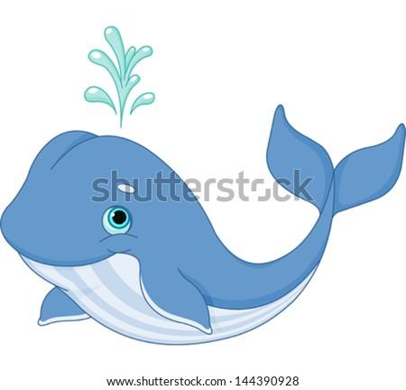 Illustration of cute cartoon whale - stock vector
