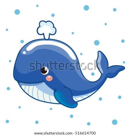 Illustration of cute cartoon whale