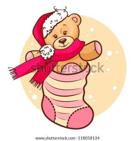 Illustration Of Cute Christmas Teddy Baby in Sock. - stock vector