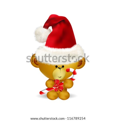 Illustration of cute Christmas Teddy Bear with candy cane - stock vector