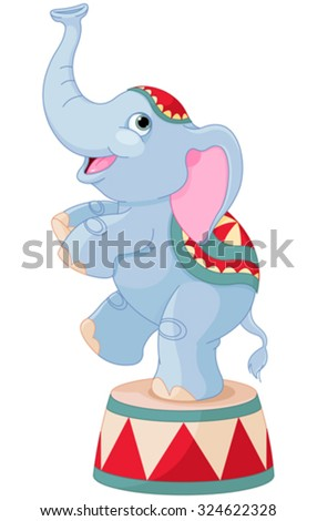 Illustration of cute circus elephant on pedestal - stock vector