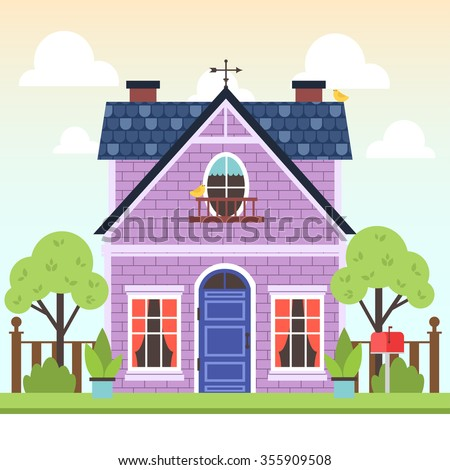 illustration of cute colorful house with trees and bird on gradient background with clouds. vector flat buildings illustration. cute spring purple house - stock vector
