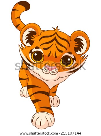 Illustration of cute crouching tiger - stock vector