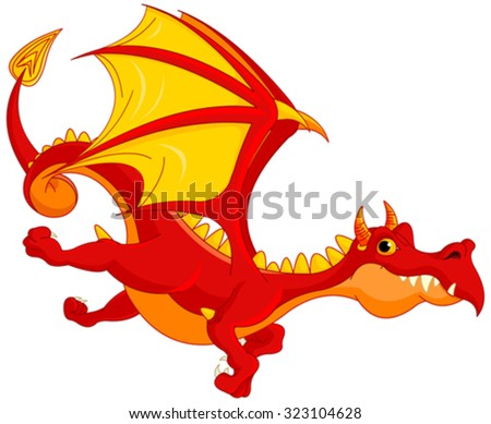 Illustration of cute dragon flying - stock vector