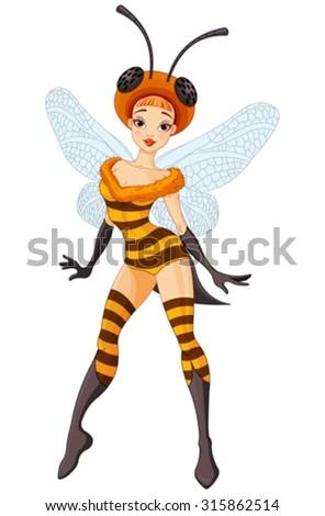Illustration of cute fairy bee - stock vector