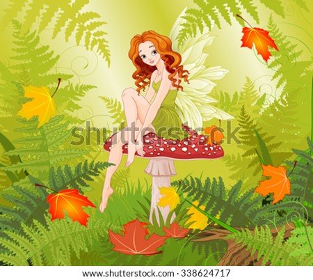 Illustration of cute fairy sitting on mushroom
