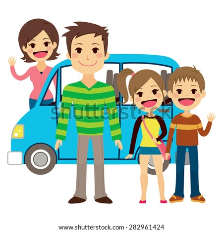 Illustration of cute family going together on vacation trip - stock vector