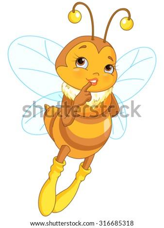 Illustration of cute femininity bee - stock vector