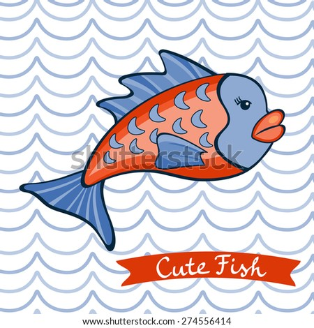 Illustration of cute fish character
