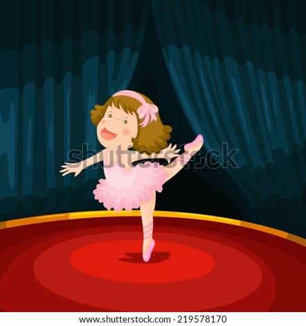 illustration of cute girl  dancing ballet on the stage - stock vector
