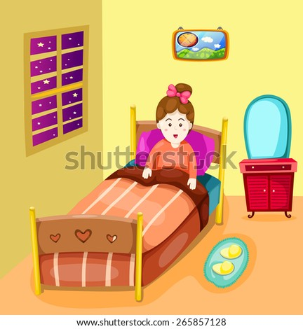 illustration of cute girl in bed  - stock vector