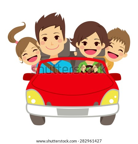 Illustration of cute happy family of four members smiling on car