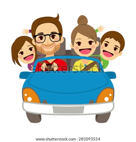 Illustration of cute happy family of four members traveling on blue car - stock vector