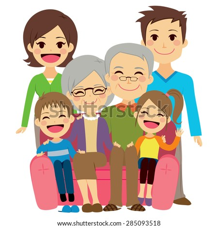 Illustration of cute happy family with mother dad son daughter grandfather and grandmother - stock vector