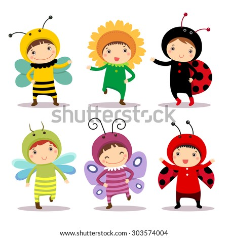 Illustration of cute kids wearing insect and flower costumes - stock vector