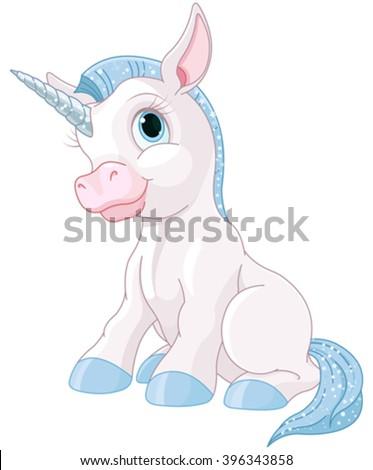 Illustration of cute magic unicorn - stock vector