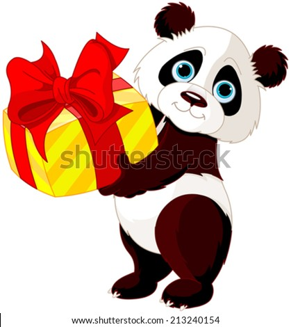Illustration of cute Panda who got gift  - stock vector