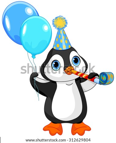 Illustration of cute penguin celebrating  - stock vector