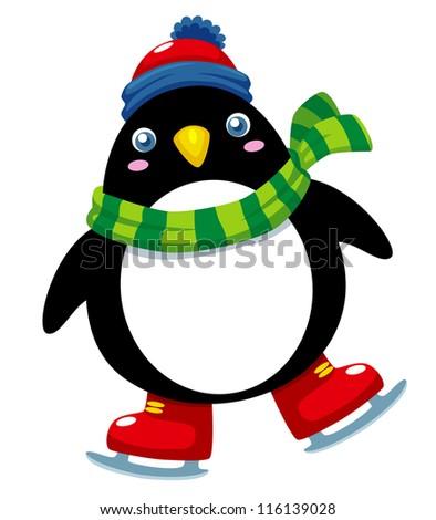 Illustration of cute penguin ice skates - stock vector